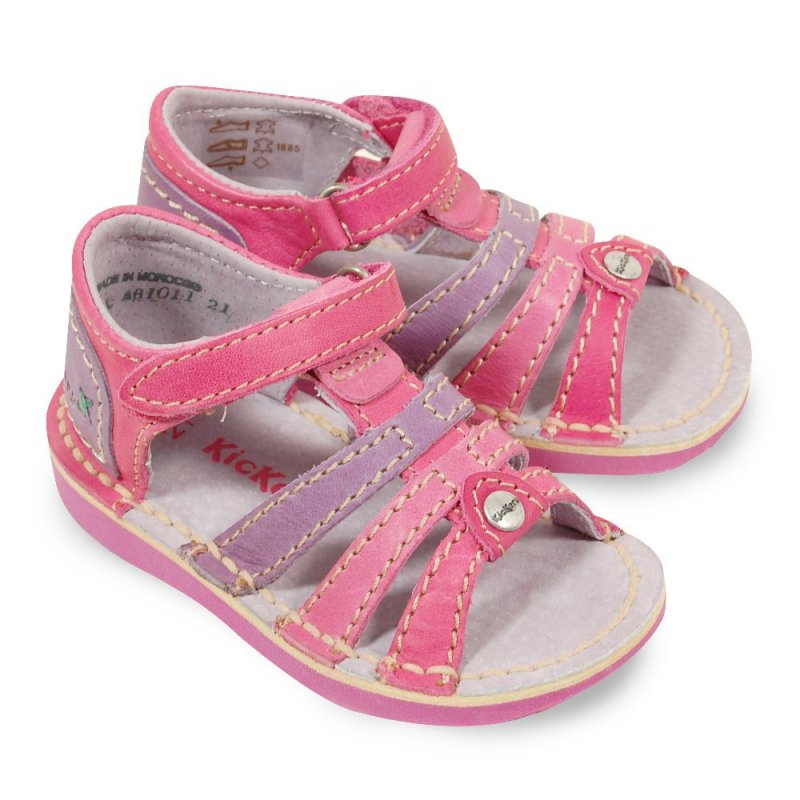 kickers woopy rose en cuir sandales b b fille pas cher chaussures b b sur chauss 39 petons. Black Bedroom Furniture Sets. Home Design Ideas