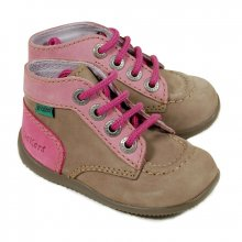 Kickers Bonbon kaki et rose