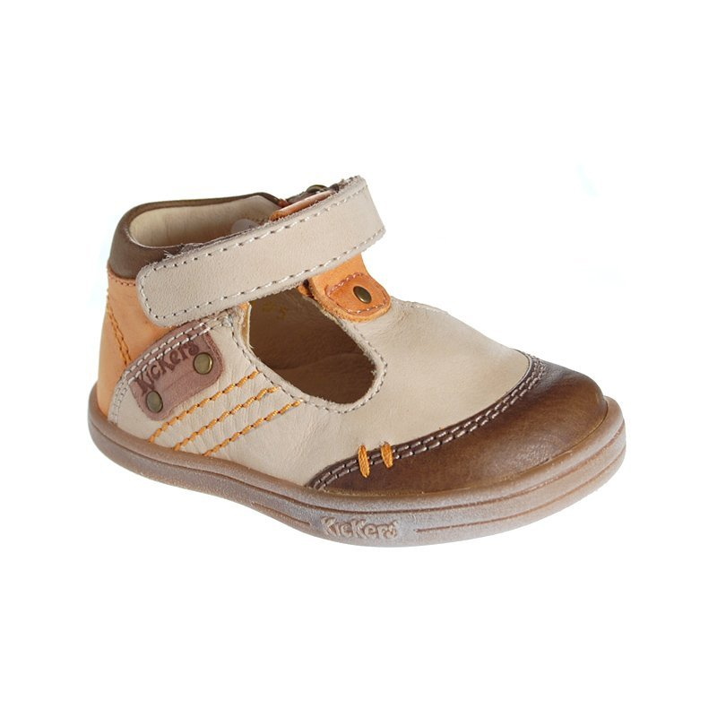 kickers trevon marron beige sandales b b gar on pas cher chaussures b b sur chauss 39 petons. Black Bedroom Furniture Sets. Home Design Ideas
