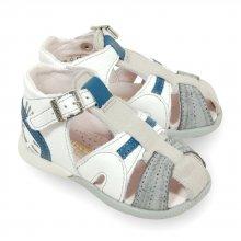Sandale Babybotte Gilou blanche et bleu