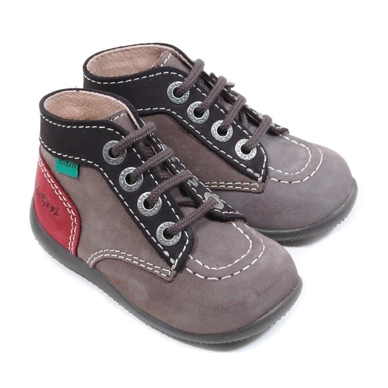 chaussure kickers bonbon gris bordeaux pour b b gar on. Black Bedroom Furniture Sets. Home Design Ideas