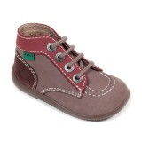 Kickers Bonbon gris marron bordeaux