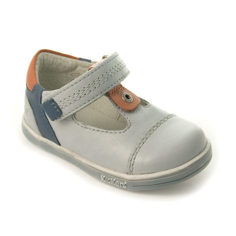 Kickers tropico gris bleu chaussure ouverte b b gar on - Chaussure kickers bebe pas cher ...
