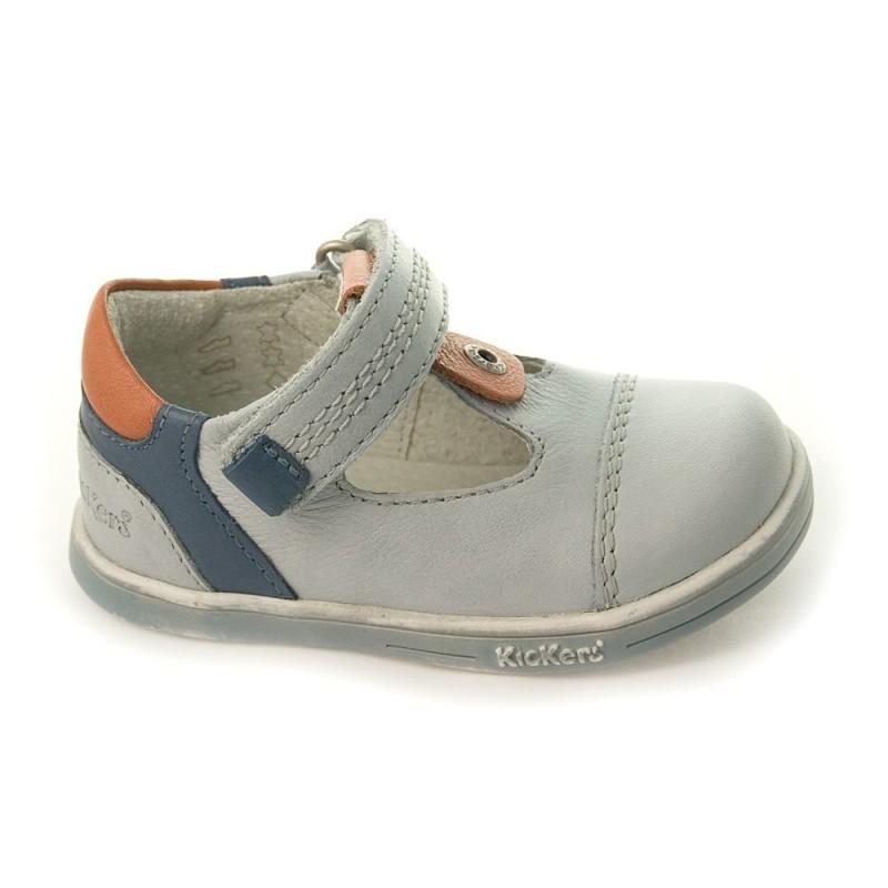 kickers tropico gris bleu chaussure ouverte b b gar on pas cher chaussures b b sur chauss. Black Bedroom Furniture Sets. Home Design Ideas