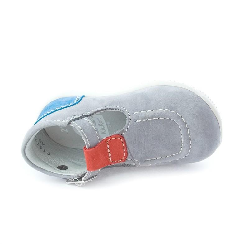 Kickers bonbek gris clair bleu et rouge sandales b b - Bleu gris clair ...