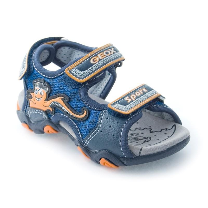 geox b sand strike a bleu et orange sandale b b gar on. Black Bedroom Furniture Sets. Home Design Ideas