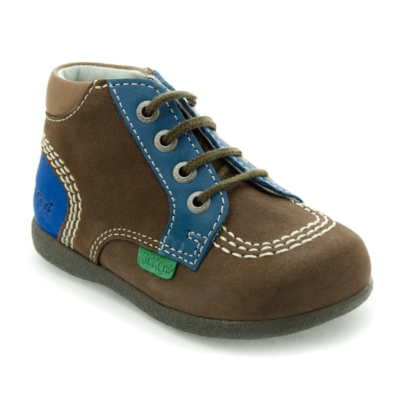 kickers babystan marron fonc et bleu chaussure pour b b. Black Bedroom Furniture Sets. Home Design Ideas
