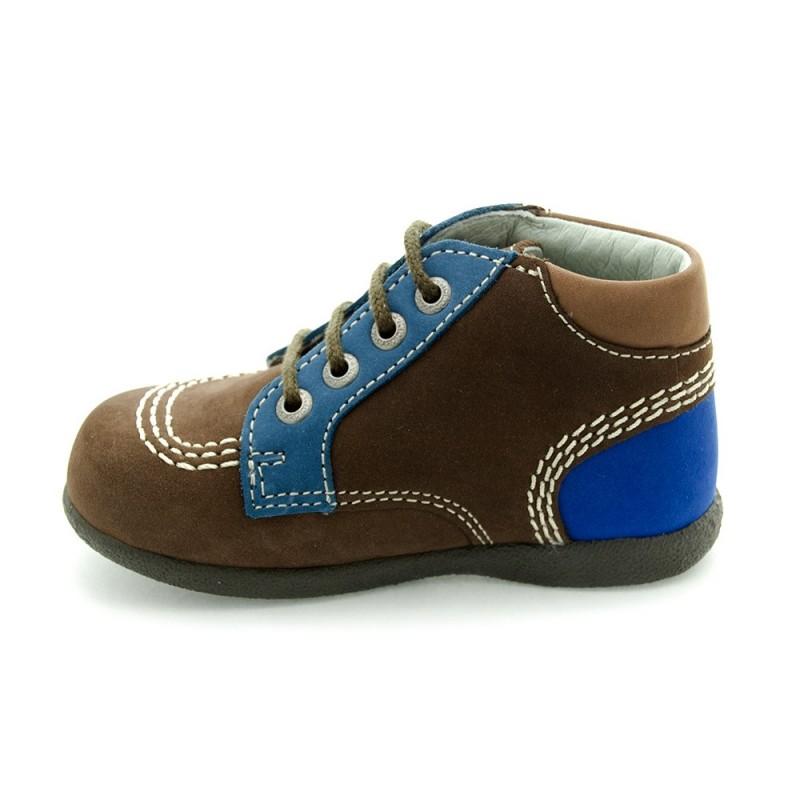 kickers babystan marron fonc et bleu chaussure pour b b gar on taille 18 19 20 21 22. Black Bedroom Furniture Sets. Home Design Ideas