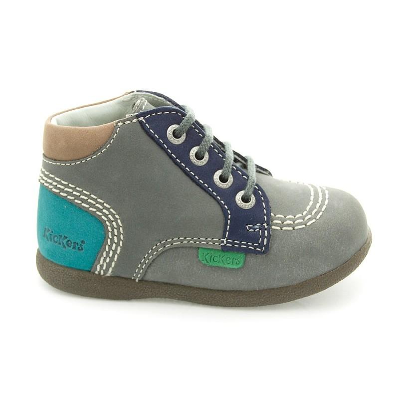 Kickers babystan gris et turquoise chaussure pour b b gar on taille 18 19 20 21 22 for Accessoires garcons turquoise et gris