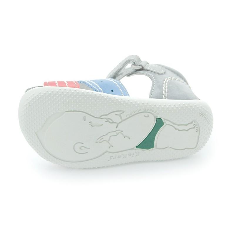 Kickers bigbazar gris clair bleu et rouge sandales b b - Bleu gris clair ...