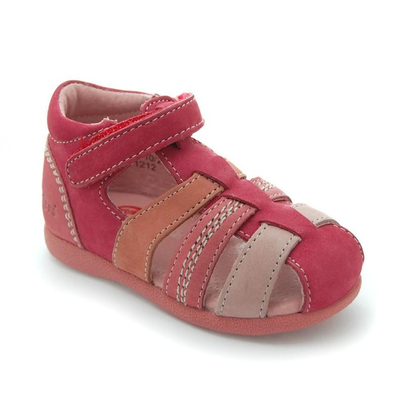 kickers babysun rouge rose sandales b b fille pas cher. Black Bedroom Furniture Sets. Home Design Ideas