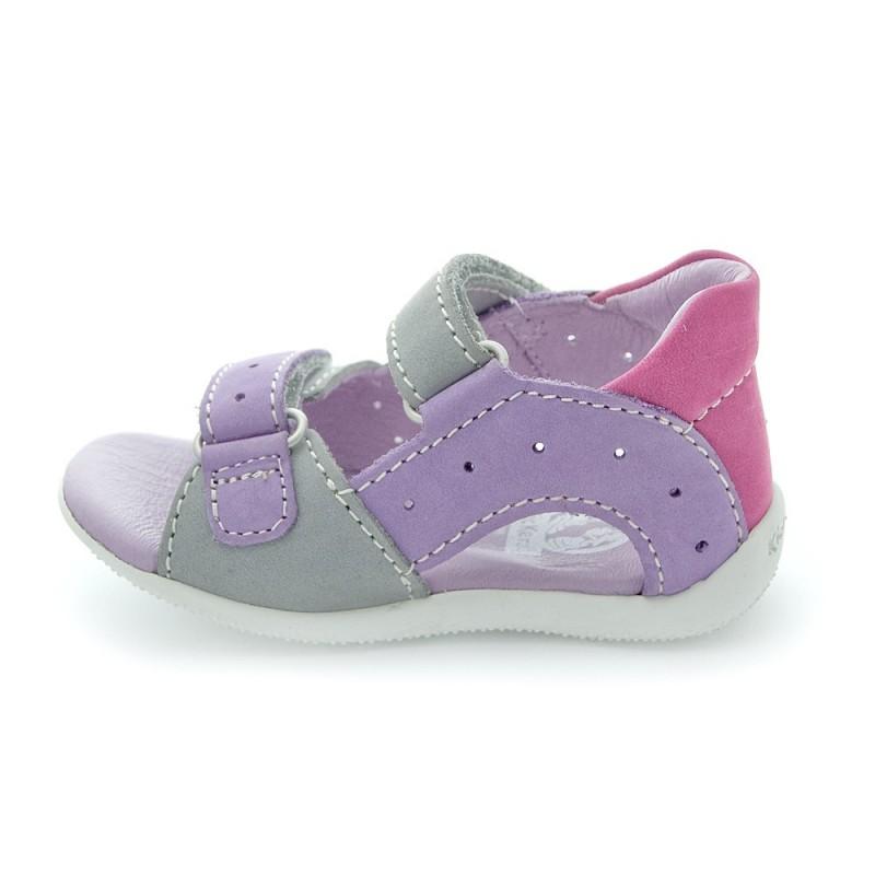 Kickers boping gris violet clair et fuschia sandales b b - Chaussure kickers bebe pas cher ...