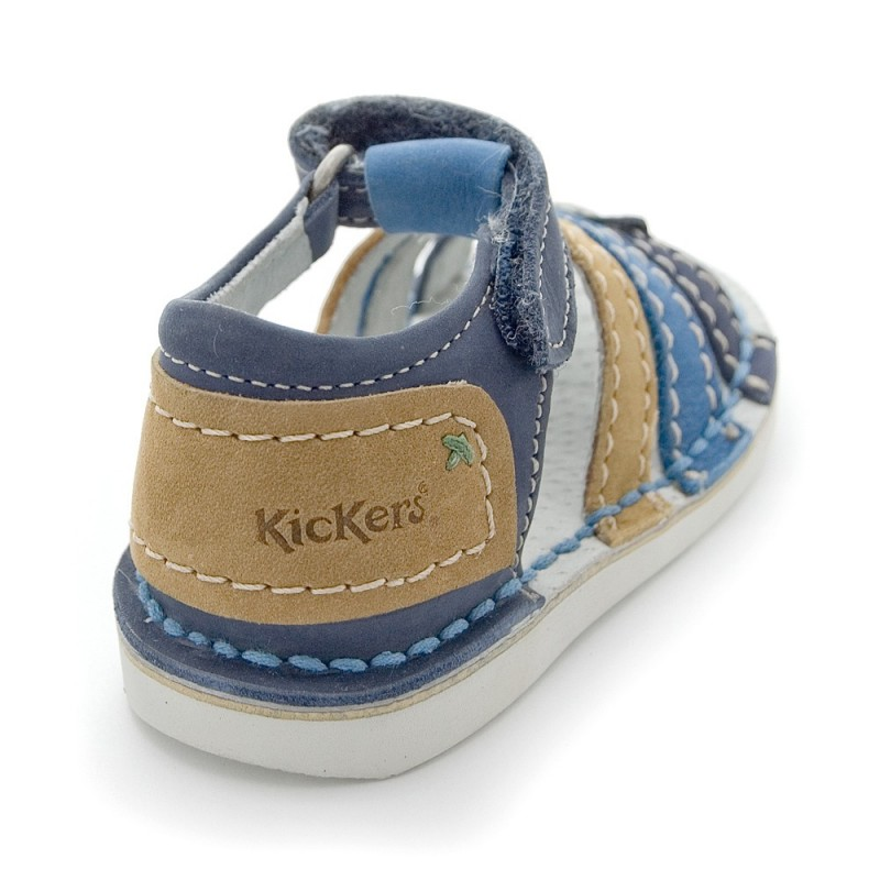 kickers woopy marine camel en cuir sandales b b gar on pas cher chaussures b b sur chauss 39 petons. Black Bedroom Furniture Sets. Home Design Ideas